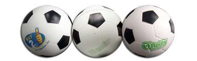 stress balls in the shape of soccer balls and footballs